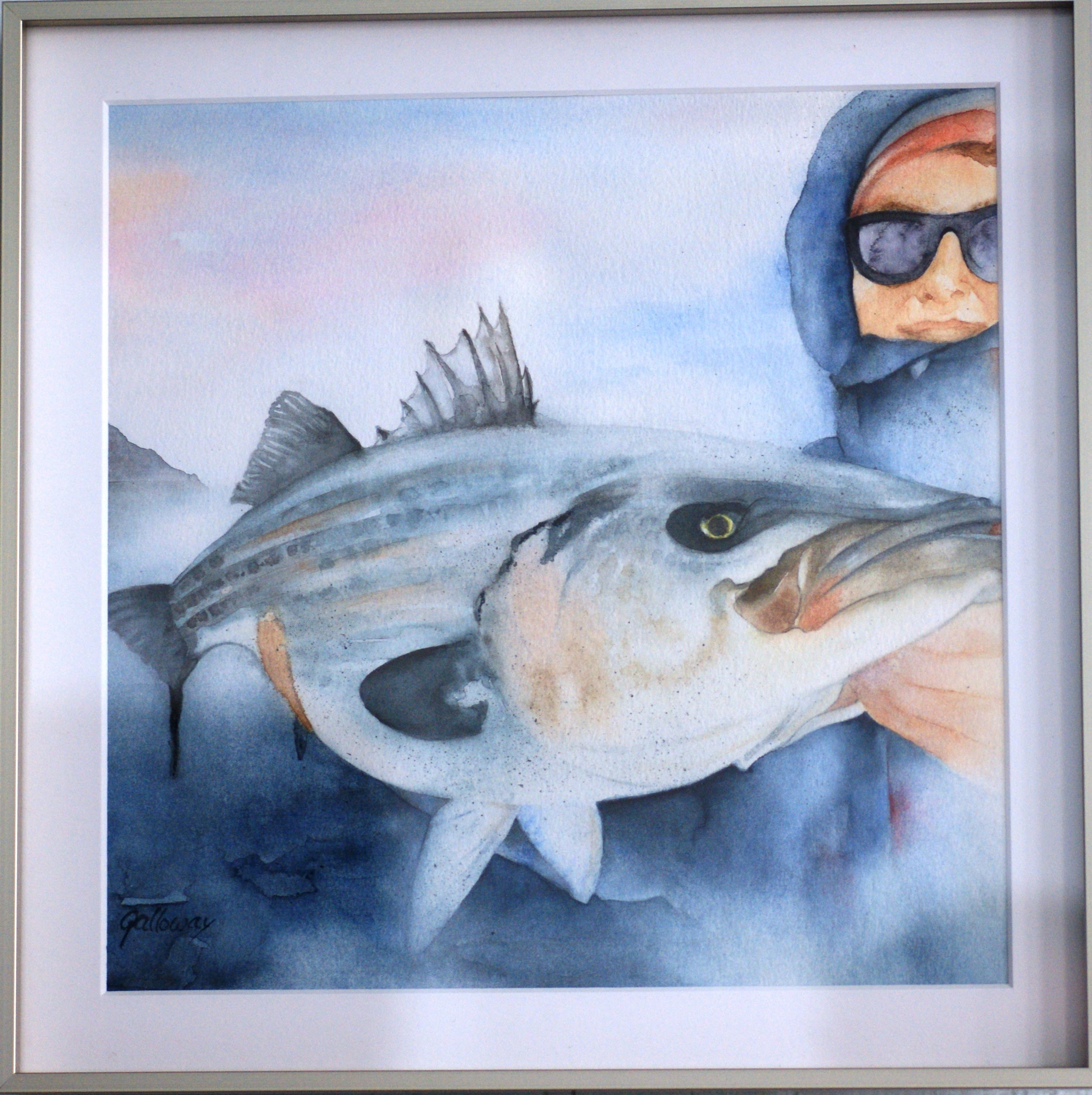 Alex and His Fish, Nancy Lee Galloway, Watercolor $150